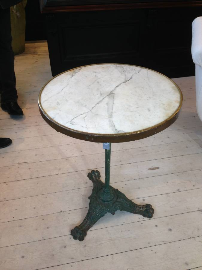 French Marble Top Bistro Table With Green Cast Iron Base In From The