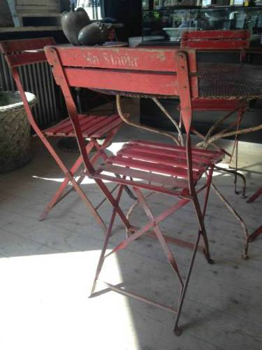 French red cafe chairs